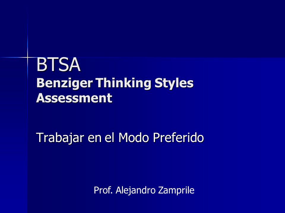 BTSA Benziger Thinking Styles Assessment Trabajar en el Modo Preferido Prof. Alejandro Zamprile