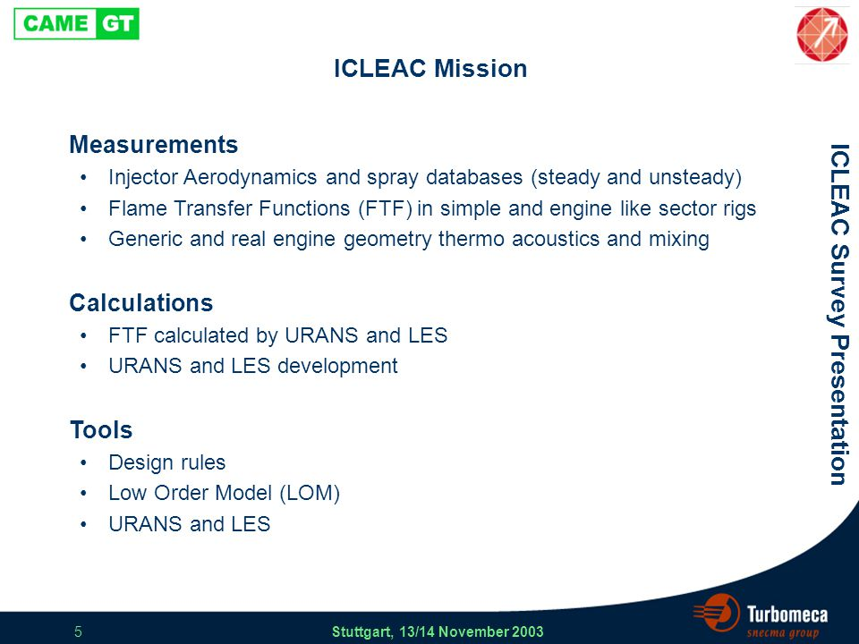 ICLEAC Survey Presentation Stuttgart, 13/14 November 2003 5 ICLEAC Mission Measurements Injector Aerodynamics and spray databases (steady and unsteady) Flame Transfer Functions (FTF) in simple and engine like sector rigs Generic and real engine geometry thermo acoustics and mixing Calculations FTF calculated by URANS and LES URANS and LES development Tools Design rules Low Order Model (LOM) URANS and LES