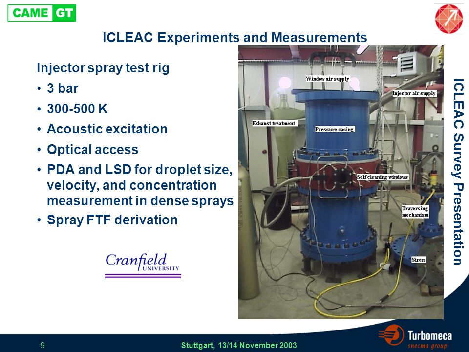 ICLEAC Survey Presentation Stuttgart, 13/14 November 2003 9 ICLEAC Experiments and Measurements Injector spray test rig 3 bar 300-500 K Acoustic excitation Optical access PDA and LSD for droplet size, velocity, and concentration measurement in dense sprays Spray FTF derivation