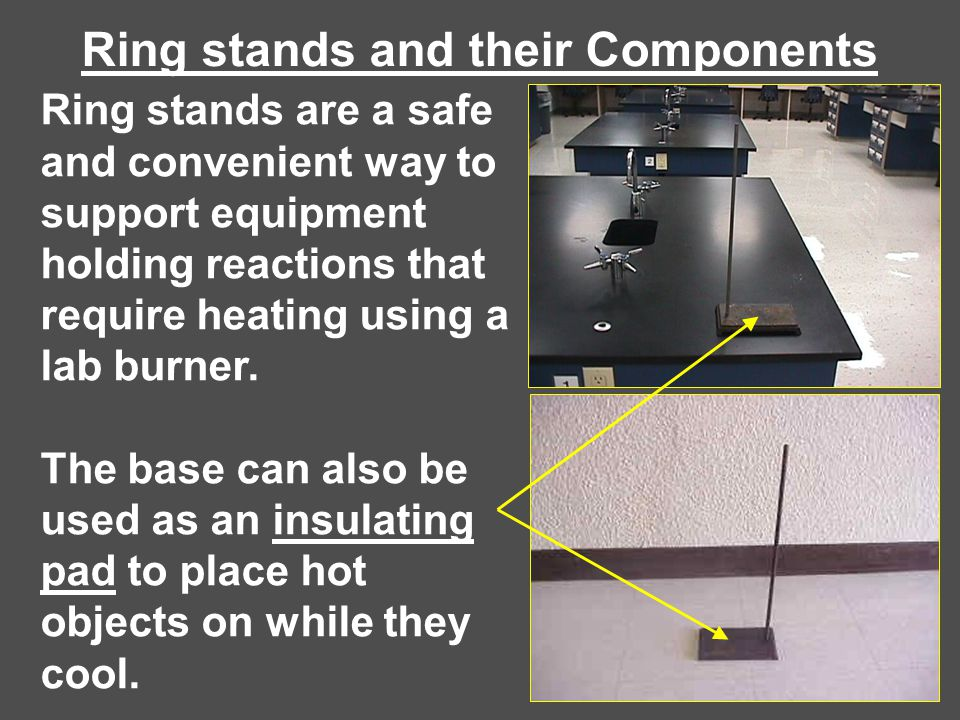 Ring stands and their Components Ring stands are a safe and convenient way to support equipment holding reactions that require heating using a lab bur