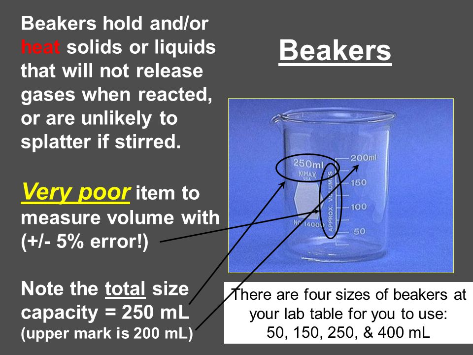 Beakers Beakers hold and/or heat solids or liquids that will not release gases when reacted, or are unlikely to splatter if stirred. Very poor item to