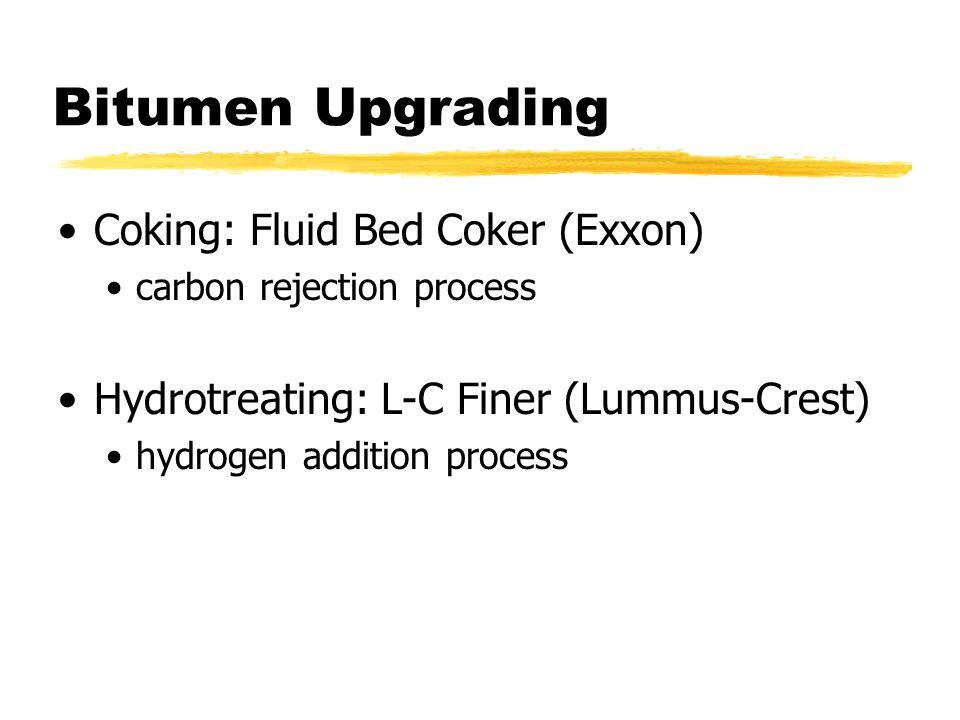 Bitumen Upgrading Coking: Fluid Bed Coker (Exxon) carbon rejection process Hydrotreating: L-C Finer (Lummus-Crest) hydrogen addition process