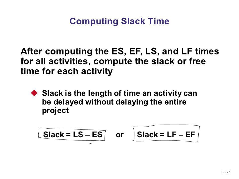 3 - 27 Computing Slack Time After computing the ES, EF, LS, and LF times for all activities, compute the slack or free time for each activity  Slack is the length of time an activity can be delayed without delaying the entire project Slack = LS – ES or Slack = LF – EF
