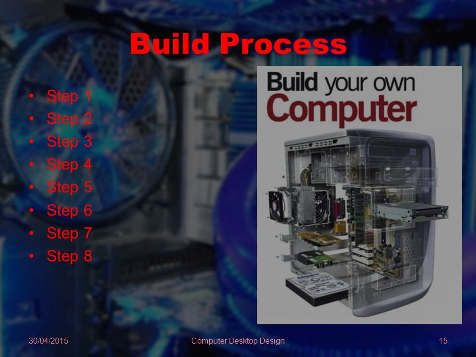 Build Process Step 1 Step 2 Step 3 Step 4 Step 5 Step 6 Step 7 Step 8 30/04/2015Computer Desktop Design15