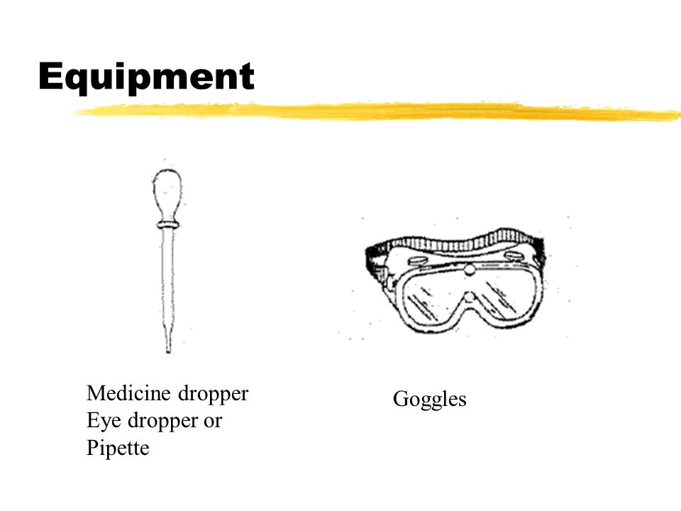 Equipment Medicine dropper Eye dropper or Pipette Goggles