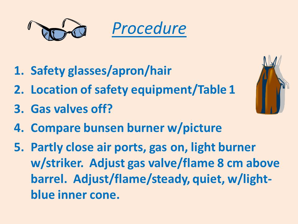Procedure 1.Safety glasses/apron/hair 2.Location of safety equipment/Table 1 3.Gas valves off? 4.Compare bunsen burner w/picture 5.Partly close air po