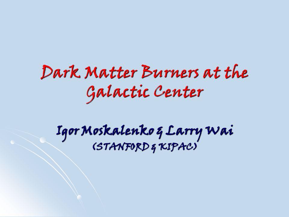 Dark Matter Burners at the Galactic Center Igor Moskalenko & Larry Wai (STANFORD & KIPAC)