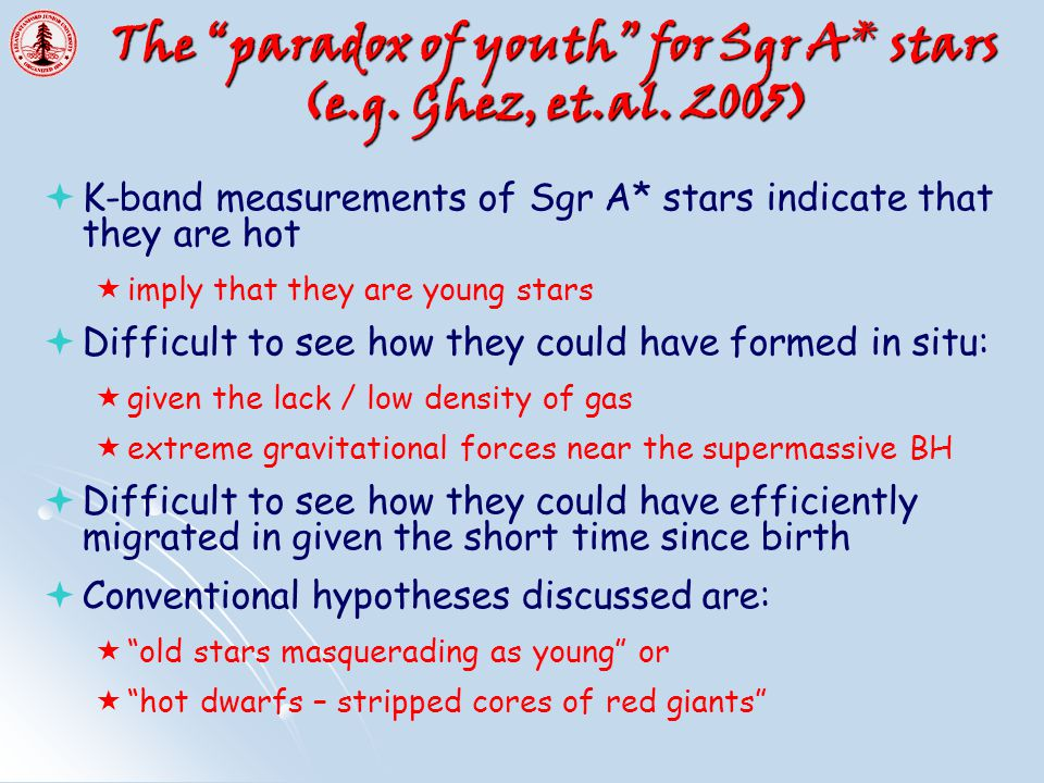 The paradox of youth for Sgr A* stars (e.g. Ghez, et.al.