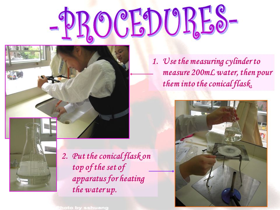 1. Use the measuring cylinder to measure 200mL water, then pour them into the conical flask.