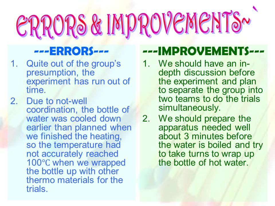 ---ERRORS--- 1.Quite out of the group's presumption, the experiment has run out of time.
