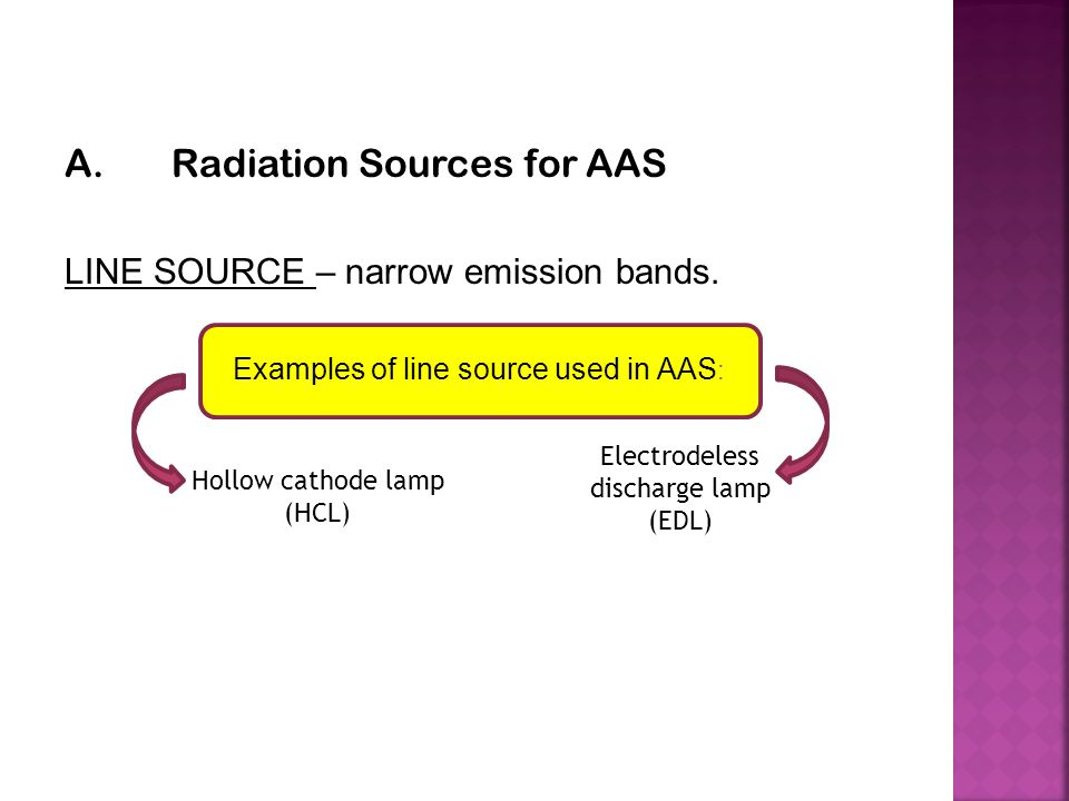 A.Radiation Sources for AAS LINE SOURCE – narrow emission bands. Examples of line source used in AAS : Hollow cathode lamp (HCL) Electrodeless dischar