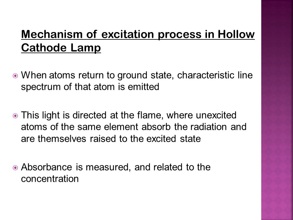 Mechanism of excitation process in Hollow Cathode Lamp  When atoms return to ground state, characteristic line spectrum of that atom is emitted  Thi
