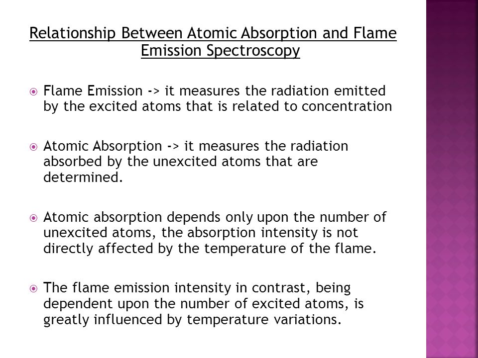 Relationship Between Atomic Absorption and Flame Emission Spectroscopy  Flame Emission -> it measures the radiation emitted by the excited atoms that