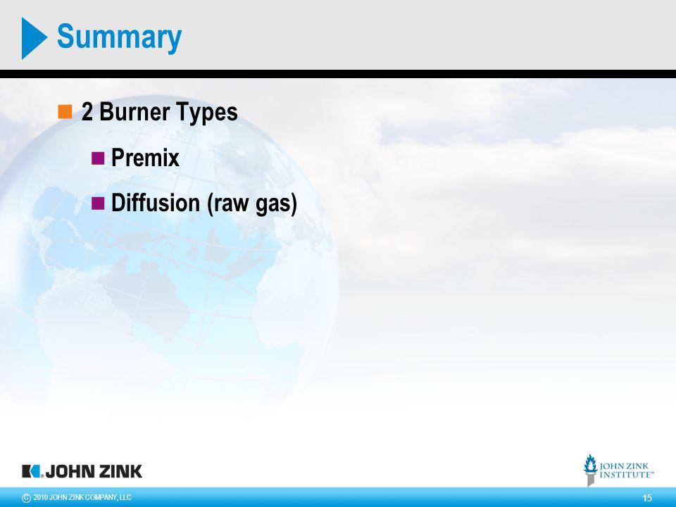 2010 JOHN ZINK COMPANY, LLCC 15 Summary 2 Burner Types Premix Diffusion (raw gas)