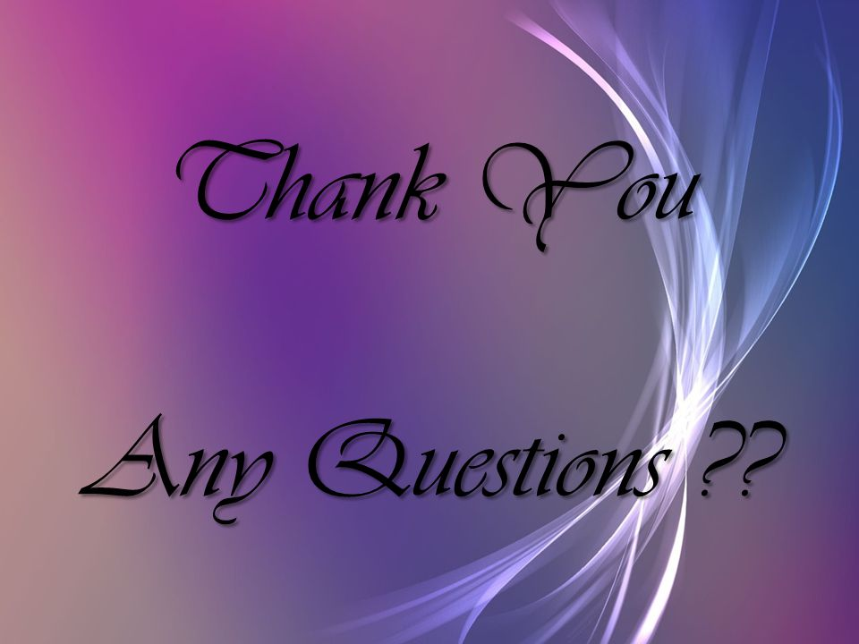Thank You Any Questions