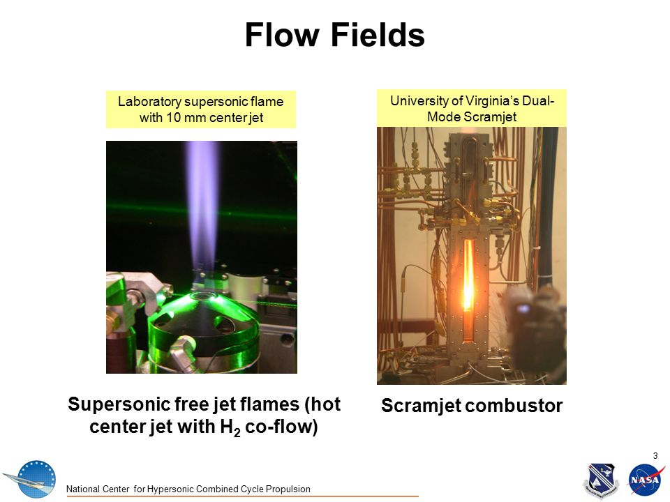 National Center for Hypersonic Combined Cycle Propulsion 3 Flow Fields Scramjet combustor University of Virginia's Dual- Mode Scramjet Supersonic free jet flames (hot center jet with H 2 co-flow) Laboratory supersonic flame with 10 mm center jet