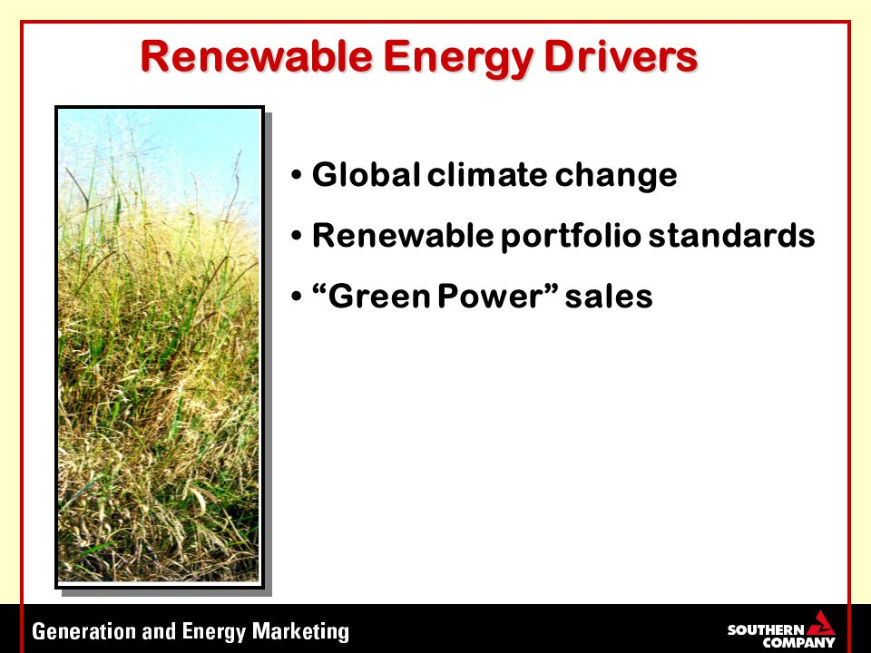 Global climate change Renewable portfolio standards Green Power sales Renewable Energy Drivers