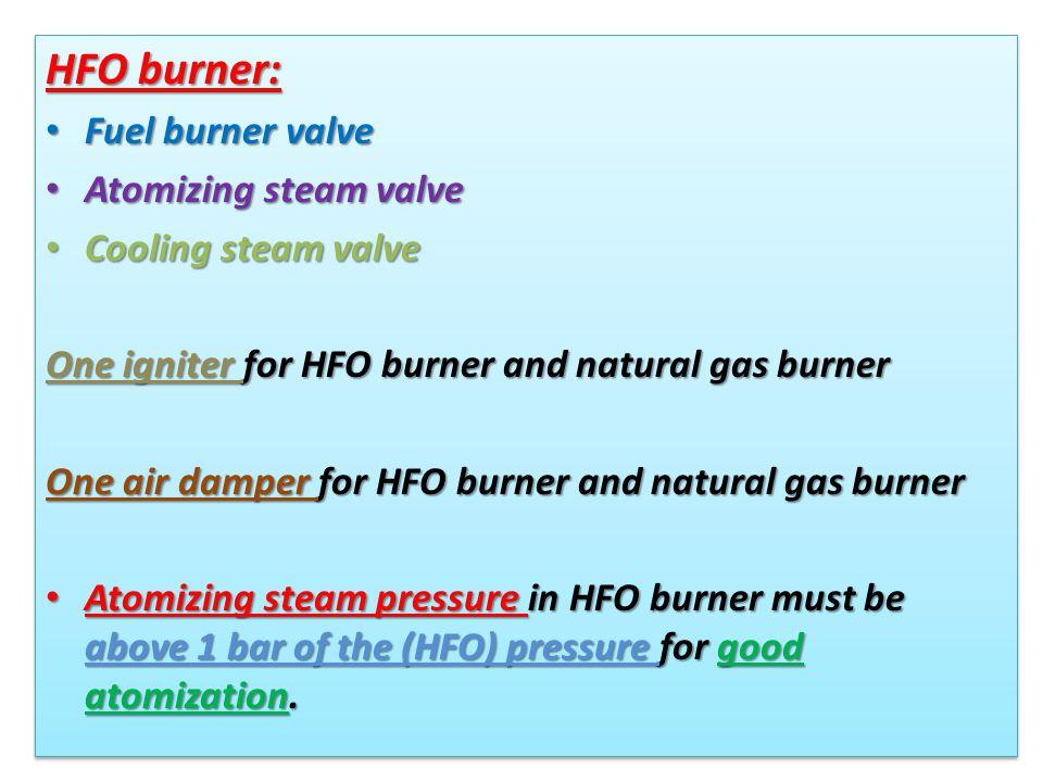 HFO burner: Fuel burner valve Fuel burner valve Atomizing steam valve Atomizing steam valve Cooling steam valve Cooling steam valve One igniter for HF