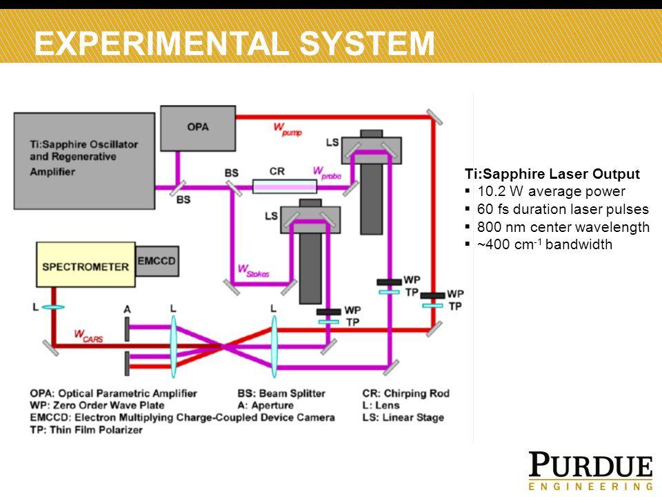 EXPERIMENTAL SYSTEM Ti:Sapphire Laser Output  10.2 W average power  60 fs duration laser pulses  800 nm center wavelength  ~400 cm -1 bandwidth