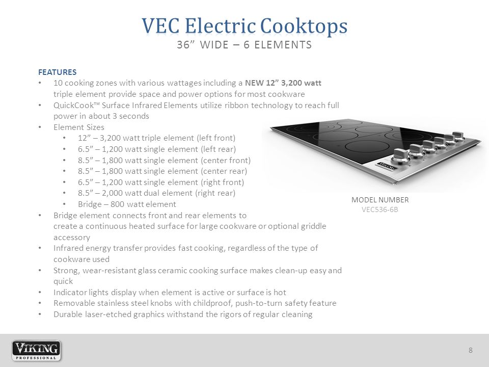 """8 MODEL NUMBER VEC536-6B 36"""" WIDE – 6 ELEMENTS FEATURES 10 cooking zones with various wattages including a NEW 12"""" 3,200 watt triple element provide s"""