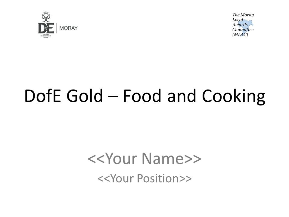 DofE Gold – Food and Cooking >