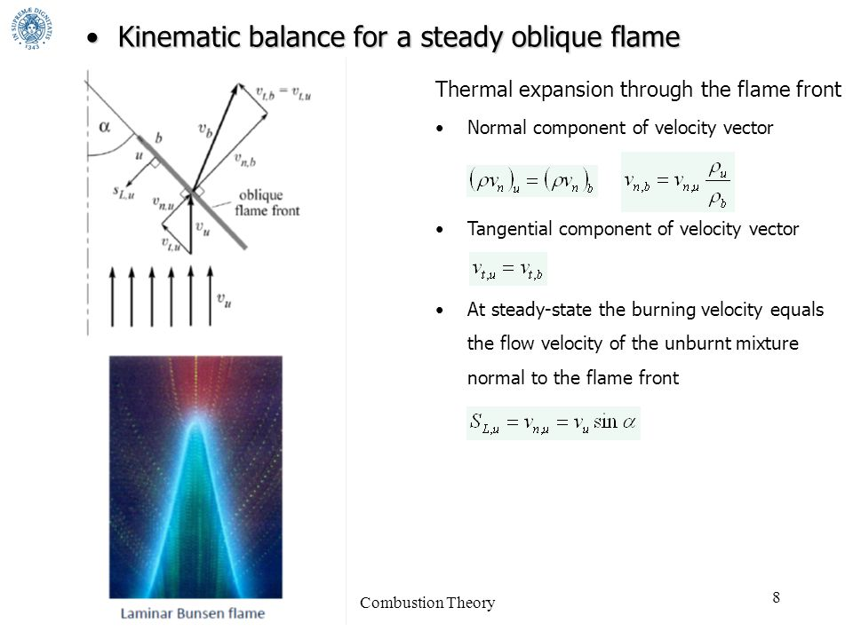 Combustion Theory 8 Thermal expansion through the flame front Normal component of velocity vector Tangential component of velocity vector At steady-state the burning velocity equals the flow velocity of the unburnt mixture normal to the flame front Kinematic balance for a steady oblique flameKinematic balance for a steady oblique flame