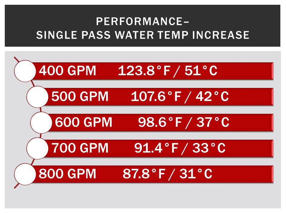 400 GPM123.8°F / 51°C 500 GPM107.6°F / 42°C 600 GPM98.6°F / 37°C 700 GPM91.4°F / 33°C 800 GPM87.8°F / 31°C PERFORMANCE– SINGLE PASS WATER TEMP INCREASE