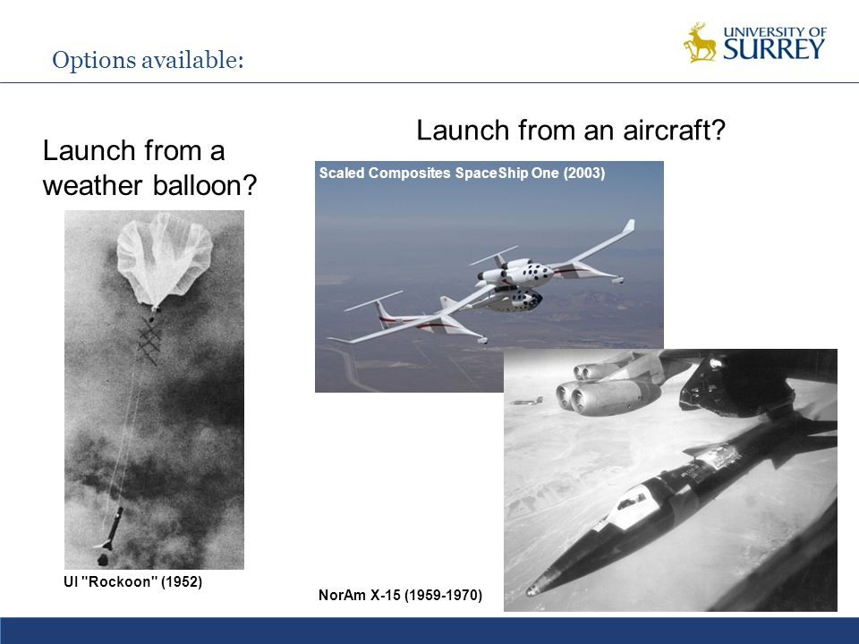 Options available: UI Rockoon (1952) Launch from a weather balloon.