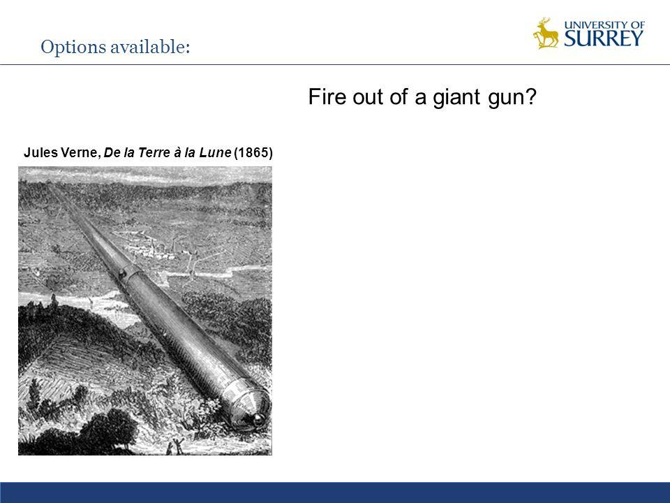Options available: Fire out of a giant gun Jules Verne, De la Terre à la Lune (1865)