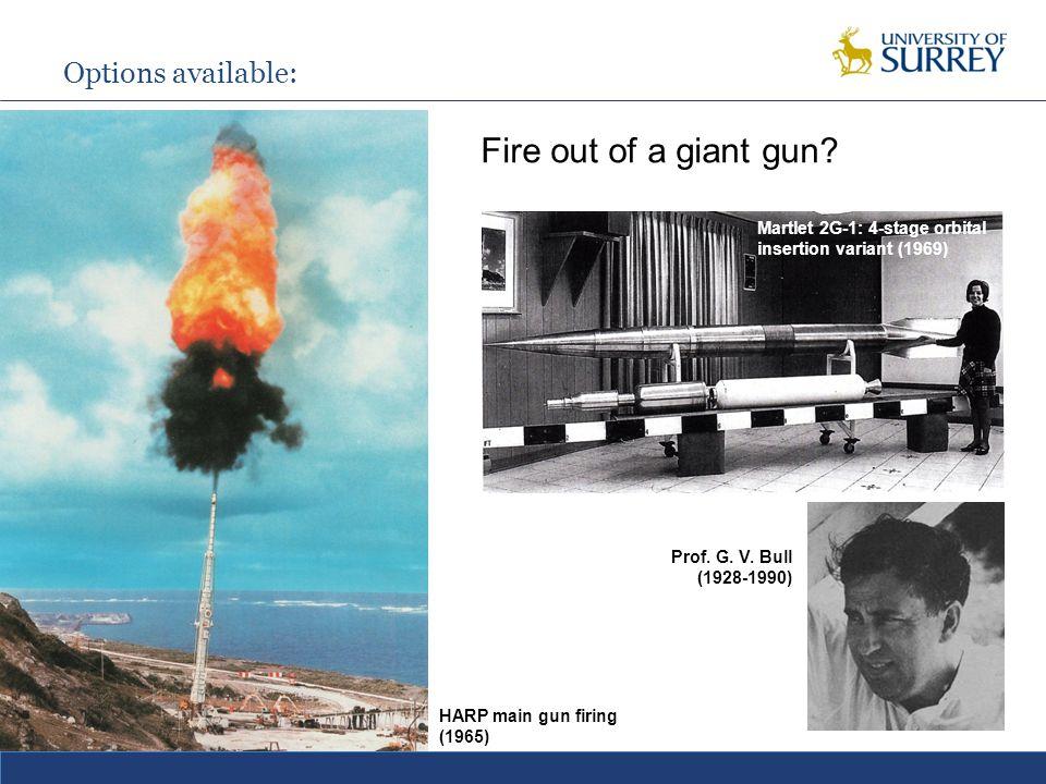 Options available: Fire out of a giant gun. HARP main gun firing (1965) Prof.