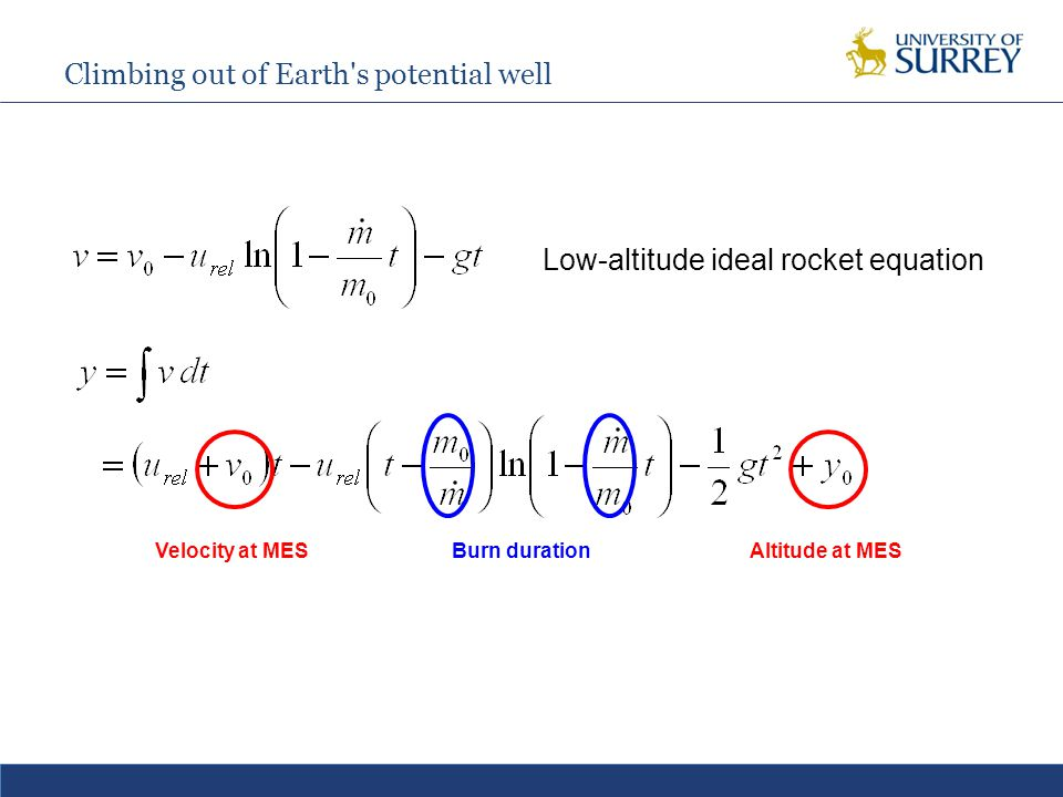 Climbing out of Earth s potential well Low-altitude ideal rocket equation Velocity at MESAltitude at MESBurn duration