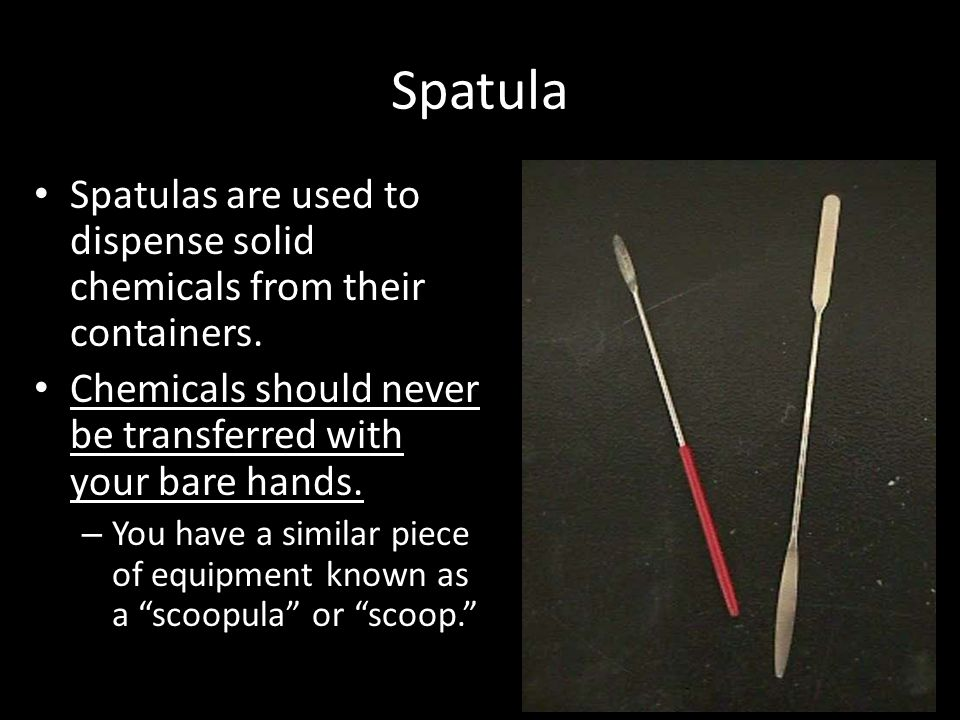 Spatula Spatulas are used to dispense solid chemicals from their containers. Chemicals should never be transferred with your bare hands. – You have a