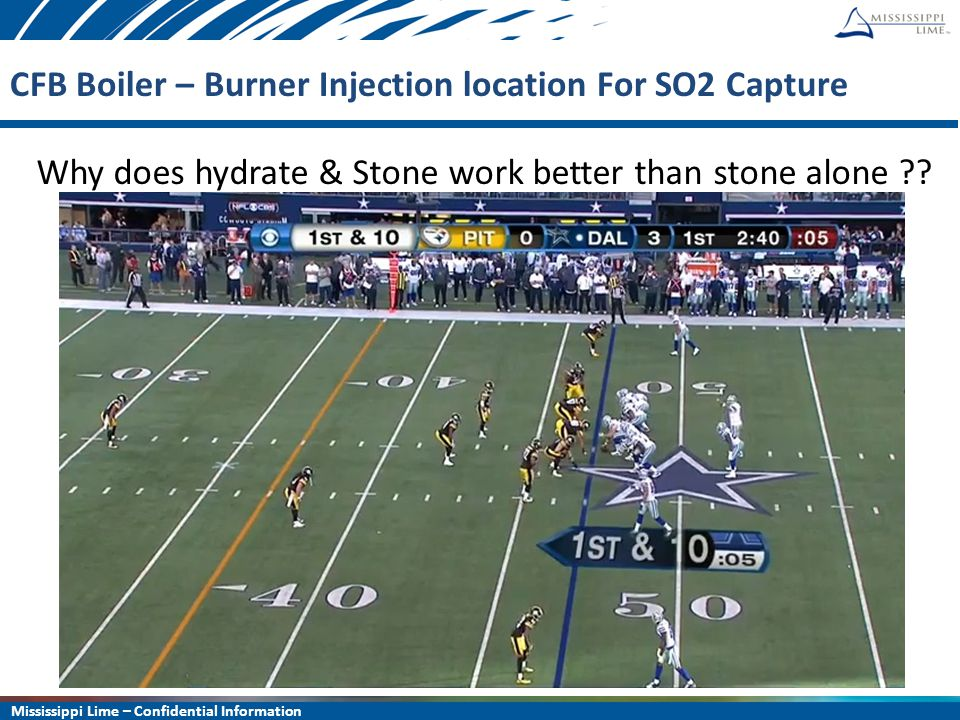 Mississippi Lime – Confidential Information 10 CFB Boiler – Burner Injection location For SO2 Capture Why does hydrate & Stone work better than stone alone ??