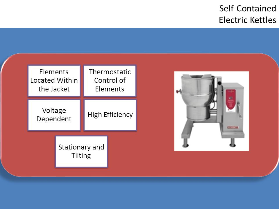 Self-Contained Electric Kettles Elements Located Within the Jacket Thermostatic Control of Elements Voltage Dependent High Efficiency Stationary and T