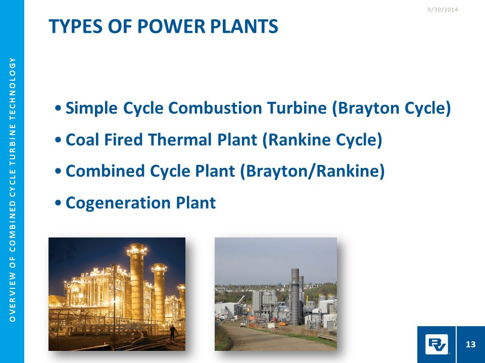 TYPES OF POWER PLANTS Simple Cycle Combustion Turbine (Brayton Cycle) Coal Fired Thermal Plant (Rankine Cycle) Combined Cycle Plant (Brayton/Rankine)