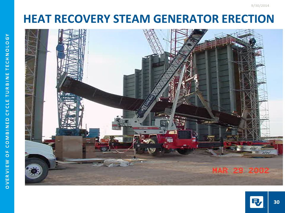 HEAT RECOVERY STEAM GENERATOR ERECTION 9/30/2014 30 OVERVIEW OF COMBINED CYCLE TURBINE TECHNOLOGY