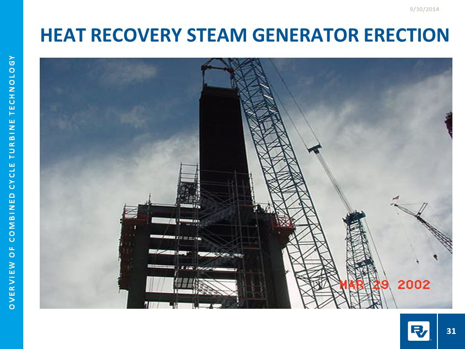 HEAT RECOVERY STEAM GENERATOR ERECTION 9/30/2014 31 OVERVIEW OF COMBINED CYCLE TURBINE TECHNOLOGY