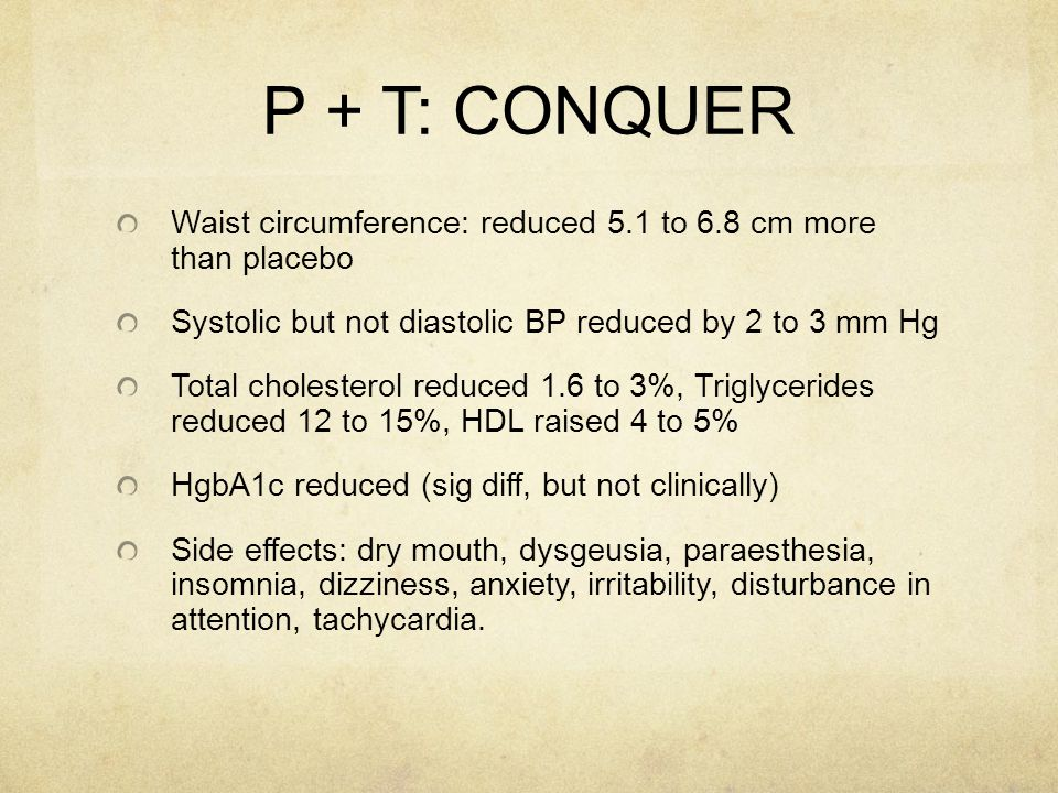 P + T: CONQUER Waist circumference: reduced 5.1 to 6.8 cm more than placebo Systolic but not diastolic BP reduced by 2 to 3 mm Hg Total cholesterol re