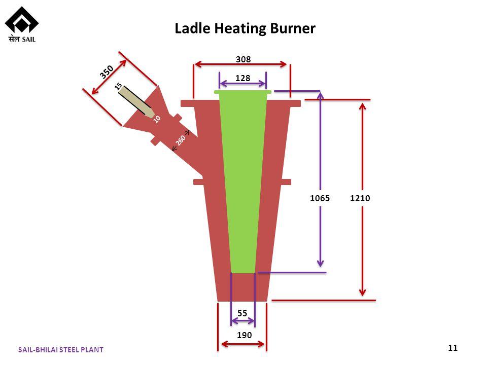 1210 308 128 1065 55 190 350 260 10 15 Ladle Heating Burner 11 SAIL-BHILAI STEEL PLANT