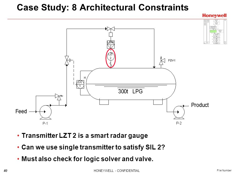 40HONEYWELL - CONFIDENTIAL File Number Case Study: 8 Architectural Constraints Transmitter LZT 2 is a smart radar gauge Can we use single transmitter