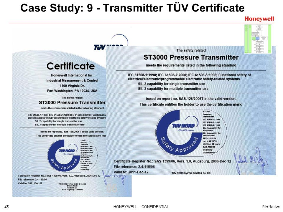 45HONEYWELL - CONFIDENTIAL File Number Case Study: 9 - Transmitter TÜV Certificate