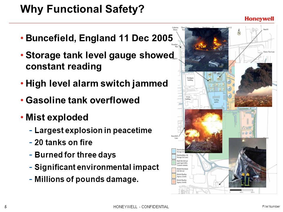 56HONEYWELL - CONFIDENTIAL File Number Target SIL must be specified for each SIF based on hazard and risk analysis Processes for SIS throughout lifecycle must comply Each SIF must meet target SIL requirements for: - Architectural constraints - Random failure rate (PFD ave ) - Development process for each component Not just TÜV certification - Though it helps .