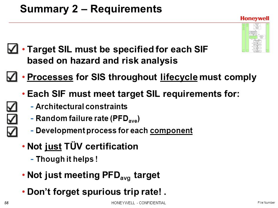 56HONEYWELL - CONFIDENTIAL File Number Target SIL must be specified for each SIF based on hazard and risk analysis Processes for SIS throughout lifecy