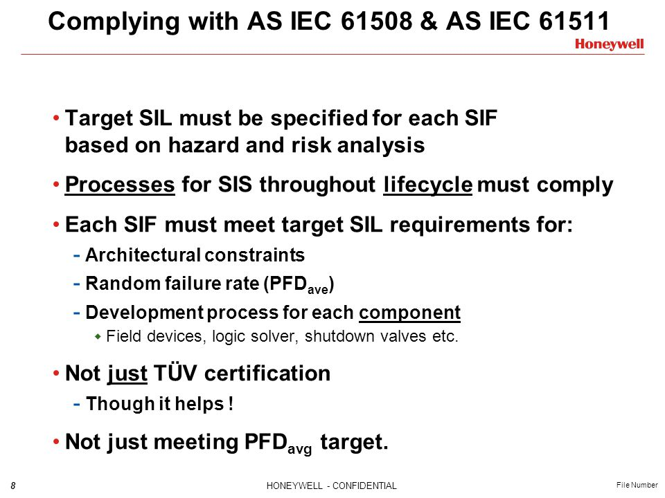 39HONEYWELL - CONFIDENTIAL File Number Architectural Constraints – IEC61508.2 SIL1SIL2SIL3 SIL2SIL3SIL4 SIL3SIL4 SIL3SIL4 < 60 % 60 % - 90 % 90 % - 99 % ≥ 99 % Type A subsystems – e.g.