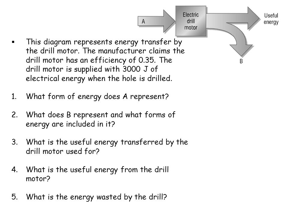 This diagram represents energy transfer by the drill motor. The manufacturer claims the drill motor has an efficiency of 0.35. The drill motor is su