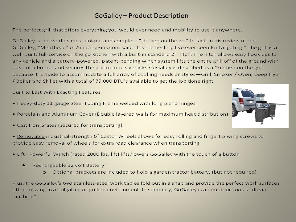 GoGalley – Product Description
