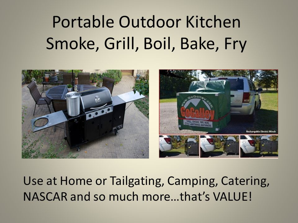 Portable Outdoor Kitchen Smoke, Grill, Boil, Bake, Fry Use at Home or Tailgating, Camping, Catering, NASCAR and so much more…that's VALUE!