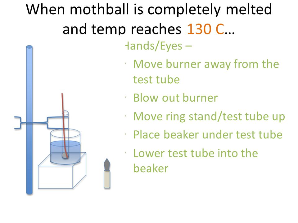 When mothball is completely melted and temp reaches 130 C… Hands/Eyes – Move burner away from the test tube Blow out burner Move ring stand/test tube