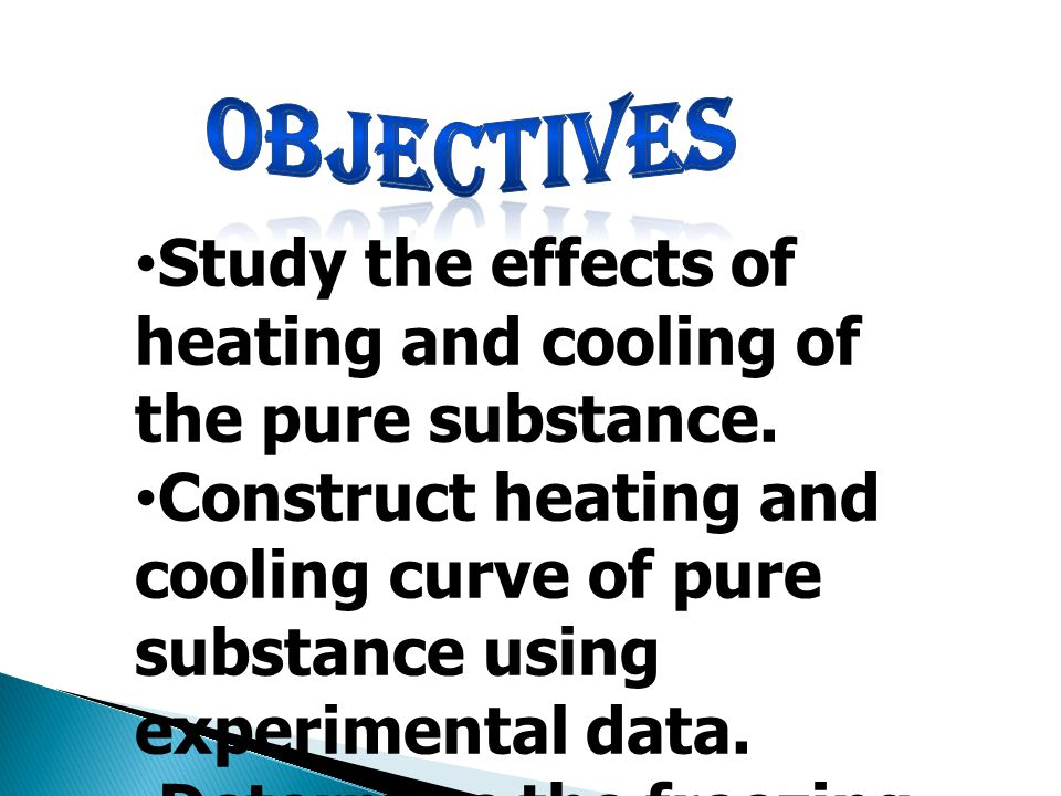 Study the effects of heating and cooling of the pure substance. Construct heating and cooling curve of pure substance using experimental data. Determi