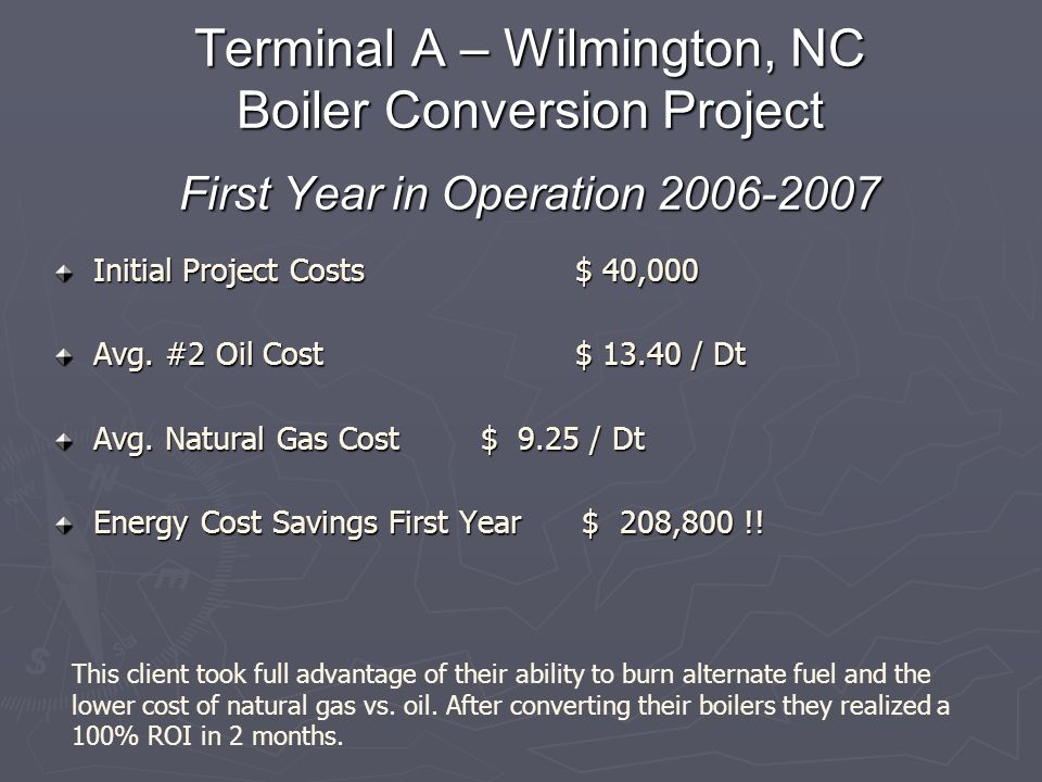 Terminal A – Wilmington, NC Boiler Conversion Project First Year in Operation 2006-2007 Initial Project Costs$ 40,000 Avg. #2 Oil Cost$ 13.40 / Dt Avg